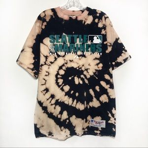 Vintage Mariners Tie Dye Bleached Graphic T Shirt